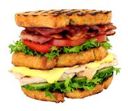 Chicken And Bacon Double Decker Sandwich. Isolated on a white background Stock Photos