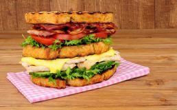 Chicken And Bacon Double Decker Sandwich Stock Photo