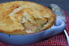 Chicken and bacon pot pie with cheese Stock Photo