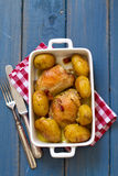 Chicken with bacon and potato in dish Royalty Free Stock Photography