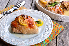 Chicken baked royalty free stock photos