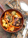 Chicken baked with potato and pumpkin Royalty Free Stock Photography