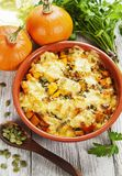 Chicken baked with pumpkin Stock Images