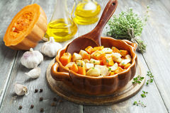 Chicken baked with pumpkin Royalty Free Stock Photo