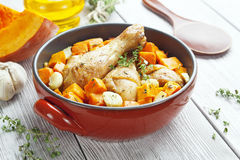 Chicken baked with pumpkin Stock Photography