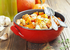 Chicken baked with pumpkin Stock Photo