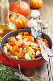 Chicken baked with pumpkin Royalty Free Stock Images