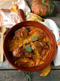 Chicken baked with pumpkin and sage Stock Image