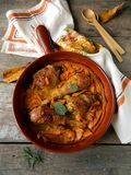 Chicken baked with pumpkin and sage Stock Photography