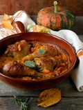 Chicken baked with pumpkin and sage Stock Images