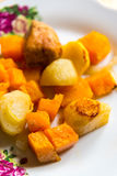 Chicken baked with slices of potato and a pumpkin on the plate Stock Images