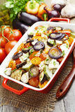 Chicken baked with vegetables. Chicken fillet baked with vegetables on the table stock photography