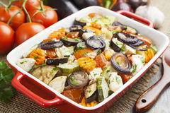 Chicken baked with vegetables. Chicken fillet baked with vegetables on the table royalty free stock photo