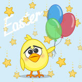 Chicken with balloons Stock Images