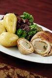Chicken ballotine meal royalty free stock photos