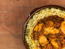 Chicken Balti Curry and Pilau Rice Stock Images