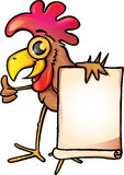 Chicken with banner. A funny cartoon chicken holding a blank banner isolated on white background Royalty Free Stock Photography