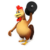 Chicken with barbell Royalty Free Stock Image