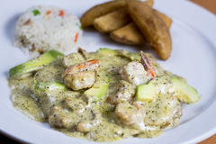 Chicken with Basil, Avocado Shrimp, Prawn Sauced Royalty Free Stock Photography