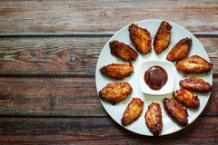 Chicken bbq wings stock photos
