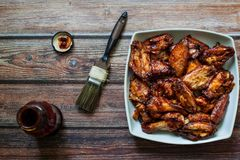 Chicken bbq wings stock images