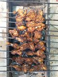 Chicken on BBQ. Chicken wings and roasted kebabs on barbecue Royalty Free Stock Photo