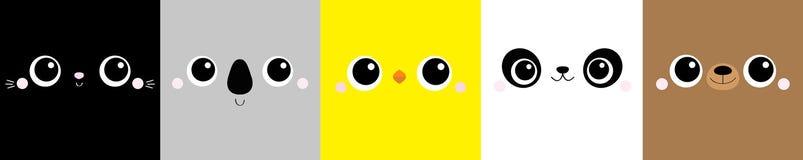Free Chicken Bear Cat Koala Panda Square Face Head Icon Set Line. Cartoon Funny Character. Cute Kawaii Animal Portrait. Kids Print For Stock Images - 188266134