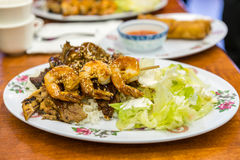Chicken beef and shrimp teriyaki Stock Photography