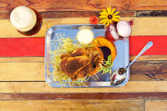 Chicken and beer Royalty Free Stock Photos