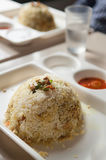 Chicken biriyani India. Spicy hot chicken biriyani made of basmati rice served in a plate. Popular food in India and Pakistan royalty free stock image