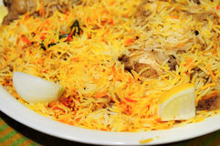 Chicken Biryani. Is a dish that originated in India but is popular throughout the middle east and in particular Saudi Arabia.  It is made with meat, rice, and Stock Image
