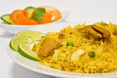 Chicken Biryani. Biryani, biriani, or beriani is a set of rice-based foods made with spices, rice (usually basmati) and meat, fish, eggs or vegetables stock images