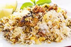 Chicken biryani. On the white plate royalty free stock photos