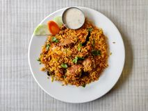 Chicken Biryani with raita stock photography