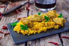 Chicken biryani and rice. Chicken curry biryani indian style food with veggies Stock Photo
