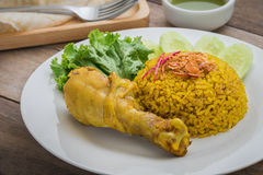 Chicken biryani or rice with curried chicken Stock Photography