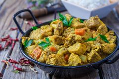 Chicken biryani and rice. Chicken curry biryani indian style food with veggies Royalty Free Stock Image