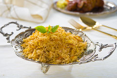 Chicken biryani served with crockery Royalty Free Stock Photo