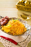 Chicken biryani in silver set Stock Photo
