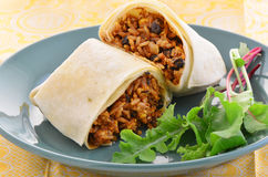 Chicken and black bean burrito Stock Photos