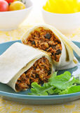 Chicken and black bean burrito Stock Images