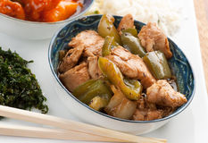 Chicken in black bean sauce stock image