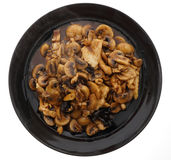 Chicken with black and white mushrooms and bamboo shoots Royalty Free Stock Images