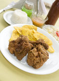 Chicken bocas and tostones Royalty Free Stock Images