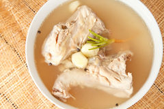 Chicken bone stock soup Royalty Free Stock Photography