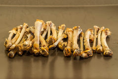 Chicken Bones. Left over from delicious meal royalty free stock photos