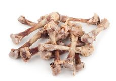 Chicken bones. On a white background stock image
