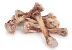 Chicken bones. On a white background royalty free stock photos