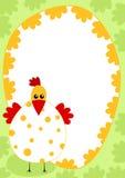Chicken border frame card Stock Photo