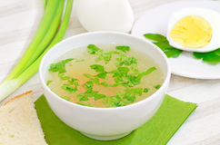 Chicken bouillon in the bowl Royalty Free Stock Photo